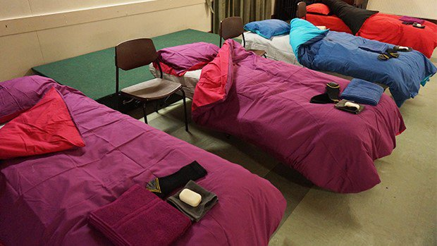 Centenary Housing Justice Cymru beds in homeless shelter