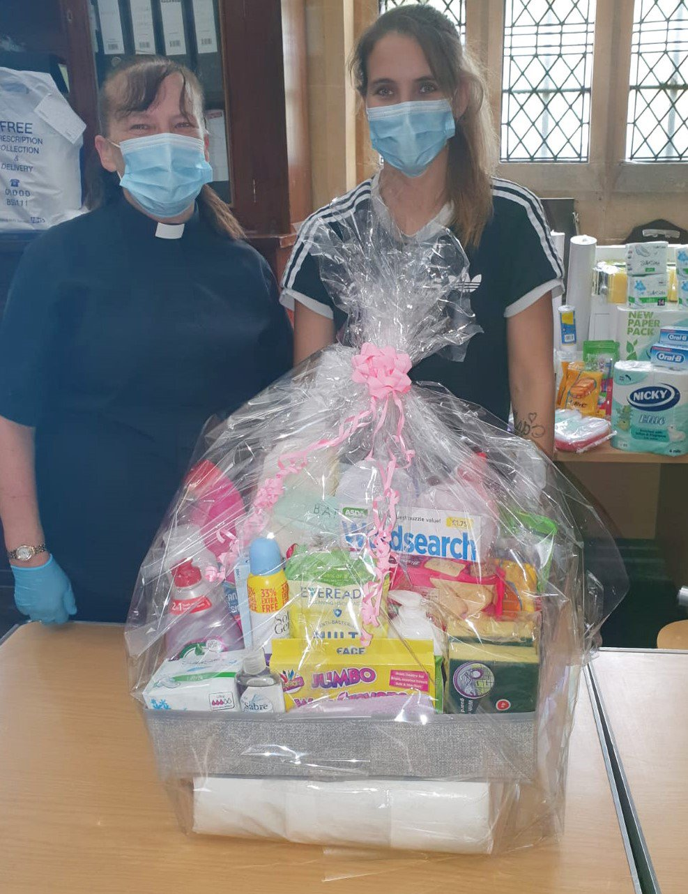 Jan Crane and her daughter Vicky Carruthers with a hygiene hamper cr.jpg